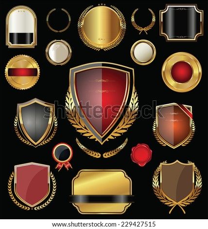 Golden shield, badges, labels and laurels - stock vector