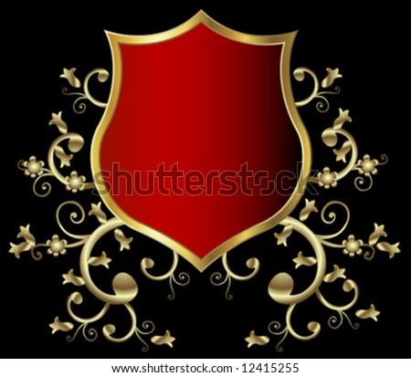 golden shield design, vintage style - stock vector
