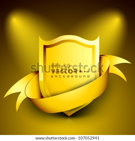 Golden shield with a golden frame for your message. EPS 10. - stock vector