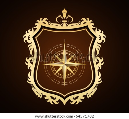golden shield with compass rose - stock vector
