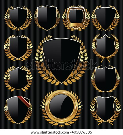 Golden shields and laurels labels collection - stock vector