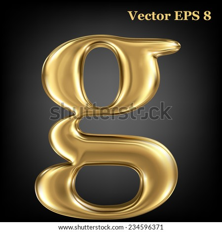 Golden shining metallic 3D symbol lowercase letter g, vector EPS8 - stock vector
