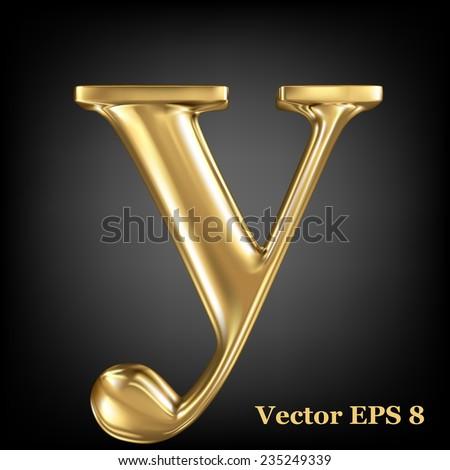 Golden shining metallic 3D symbol lowercase letter y, vector EPS8 - stock vector