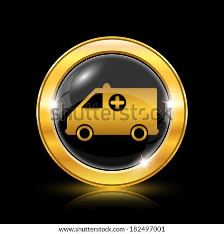 Golden shiny icon on black background - internet button