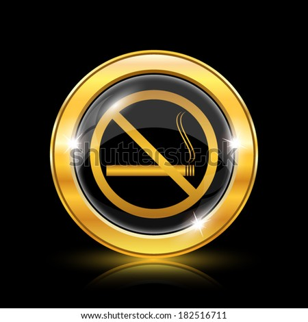 Golden shiny icon on black background - internet button - stock vector