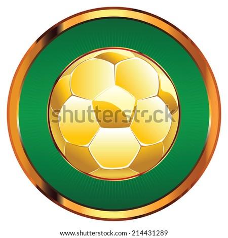 Golden shiny soccer ball illustration on white background. - stock vector