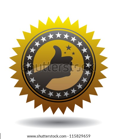 Golden Sign Thumb Up - stock vector
