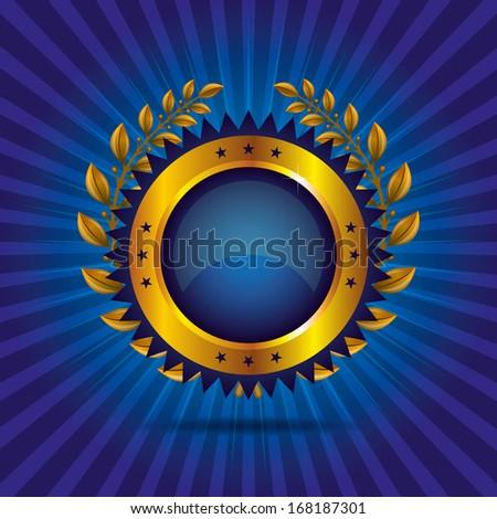 Golden Sign with Laurel wreath - stock vector