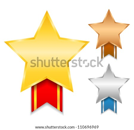 Golden, silver and bronze awards, vector eps10 illustration - stock vector