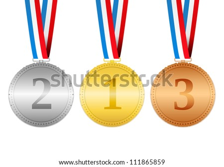 Golden, silver and bronze medals hanging on a ribbons, vector eps10 illustration
