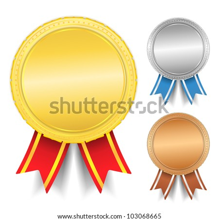 Golden, silver and bronze medals, vector eps10 illustration - stock vector