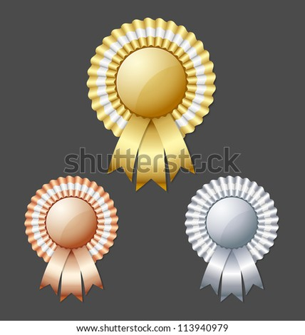 Golden silver and bronze metallic rosettes isolated on dark grey background - stock vector
