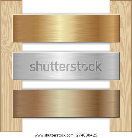 golden, silver and bronze plaques nailed to wooden planks - stock vector