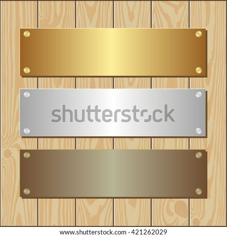 golden, silver and bronze plaques on wooden background - stock vector