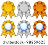 Golden, silver and bronze rosettes - stock vector