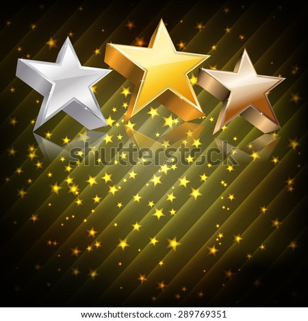 Golden, silver and bronze stars on abstract dark background. vector - stock vector