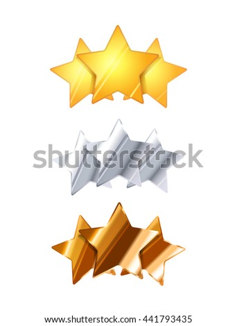 Golden, silver and bronze three glossy rating stars isolated on white