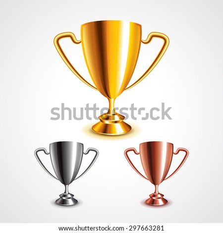 Golden, silver and bronze trophy cups photo realistic vector set - stock vector