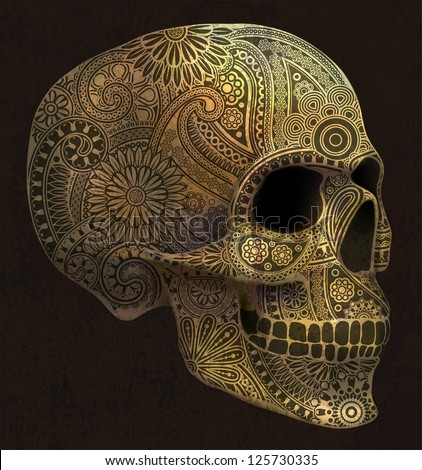 golden skull , eps 10, contains transparency objects , all elements are located on separate layers and available to editing - stock vector