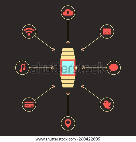 golden smart watches with social media icons. concept of mobile shopping payment, e-commerce, global service, transaction. isolated on dark background. flat style trendy design vector illustration - stock vector