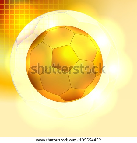 Golden soccer ball background - stock vector