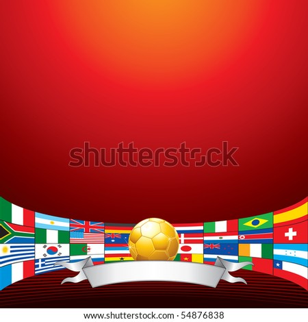 Golden soccer ball with all flags of qualified teams - stock vector