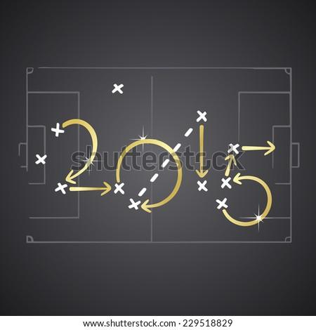 Golden soccer strategy plan 2015 - stock vector