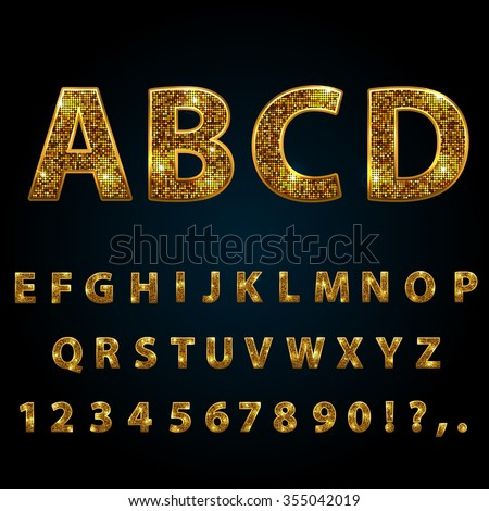 Golden  sparkle, glitter, rhinestone alphabet letters numbers and signs currency - stock vector
