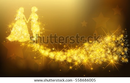 Golden sparkle wedding couple anniversary bride and groom lover with glittering magical dust and stars pattern background. Valentine anniversary celebration colorful banner background layout (vector)