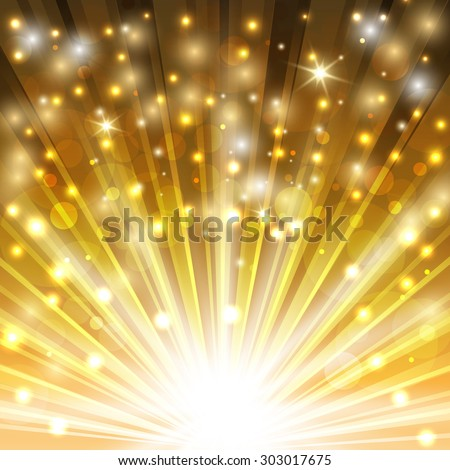 golden sparkling background with glowing sparkles and glitter. vector illustration - stock vector