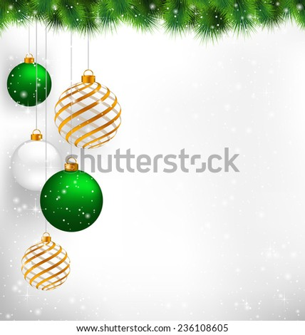 Golden spiral and green christmas balls with pine branches in snowfall on grayscale background - stock vector