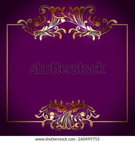 Golden Square Victorian Floral Frame Over Purple Background, Copyspace - stock vector