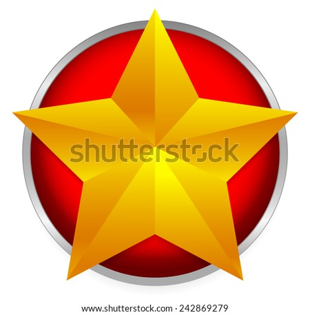 Golden star emblem - Beveled gold star on bright red circle. - stock vector