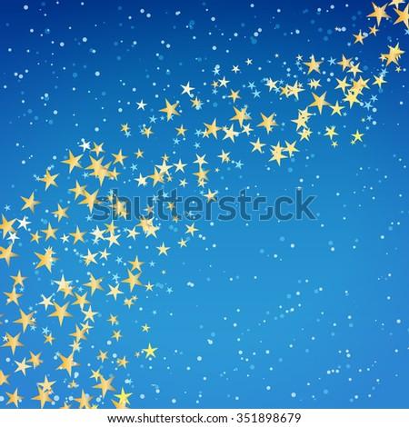 golden star flowing over night winter background - stock vector