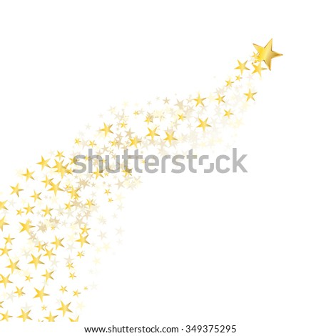 golden star flowing over white background - stock vector