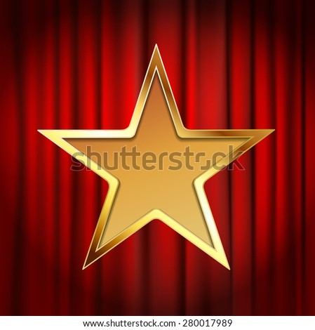golden star frame with red theater curtain background - stock vector