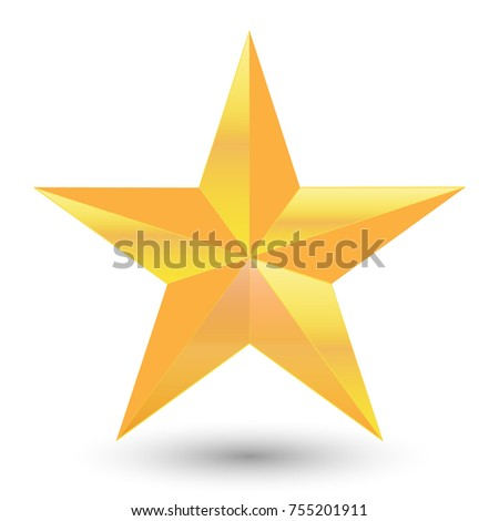 Golden star icon isolated on white background. vector illustration