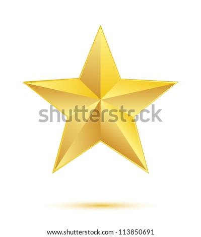 Golden star on white background - stock vector