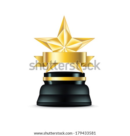 golden star trophy isolated on white background - stock vector