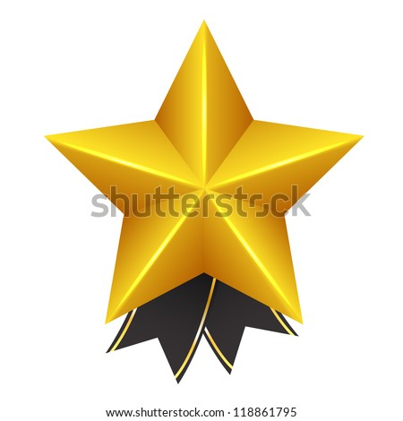 Golden Star with Bow - stock vector