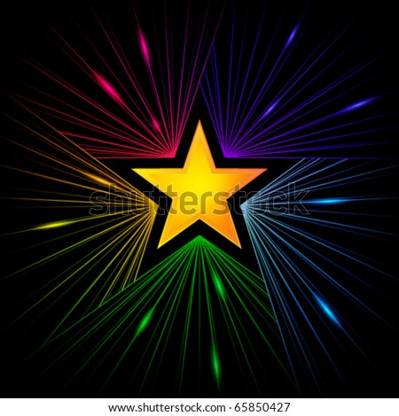 golden star with colorful rays of starlight - stock vector