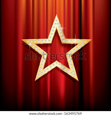 golden star with diamonds on red velvet - stock vector