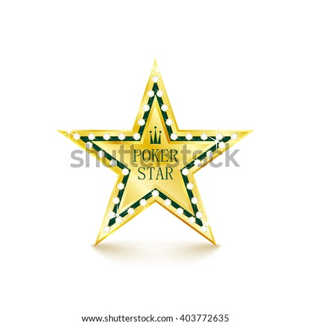 Golden star with diamonds on white background. Poker concept. Vector Illustration - stock vector