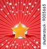 Golden star with ribbons and stars on red beams background. Vector. - stock vector