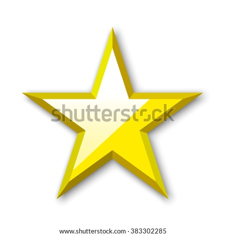 Golden Star. Yellow star. Glossy star. 3D. Vector illustration.