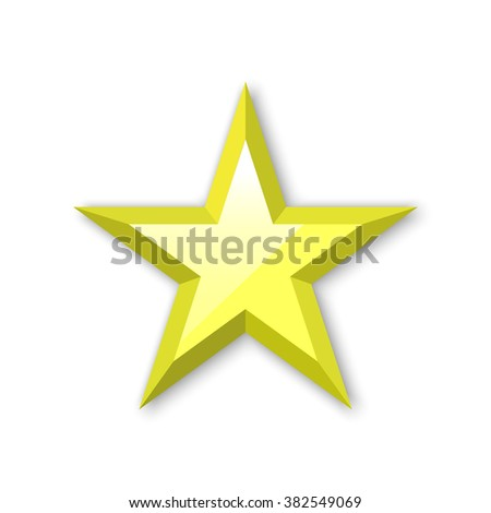 Golden Star. Yellow star. Vector illustration.