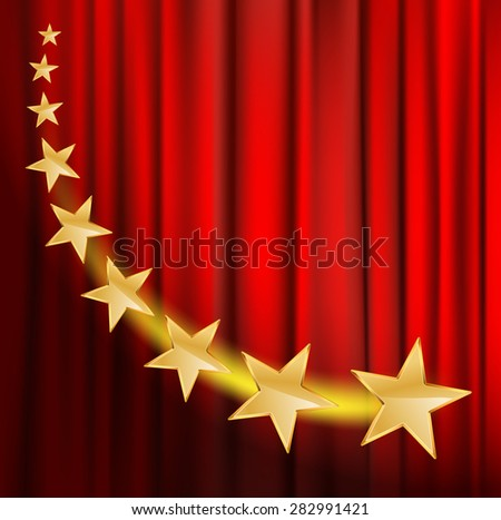 golden stars flying over red curtain background with spotlight - stock vector