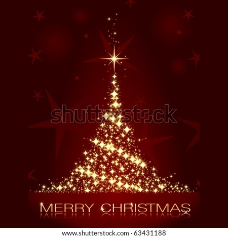 Golden stars forming a glistening Christmas tree on dark red background. - stock vector