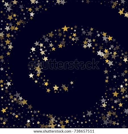golden stars glitter spiral on dark stock vector 738657511