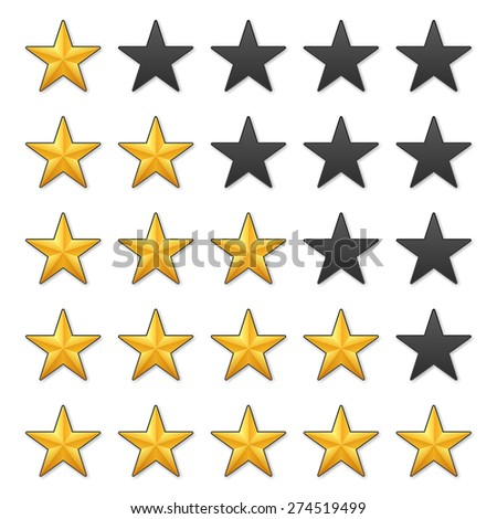 Golden stars rating on a white background. - stock vector